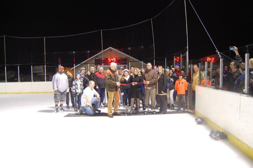 Odell Cuts Ribbon for Outdoor Skating Rink