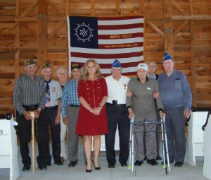 County Exec. MaryEllen Odell with several of Putnam's eldest veterans at the D-Day Remembrance ceremony.