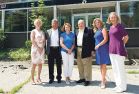Roger Ailes, fourth from left, a benefactor to a new senior center in Philipstown, met Tuesday with county officials and Butterfield developer Paul Guillaro, second from left. Also shown are Elizabeth Ailes, publisher of the PCNR; County Legislator Barbara Scuccimarra; County Executive MaryEllen Odell; and county Tourism Director Libby Pataki. PHOTO BY CHRIS LAYTON
