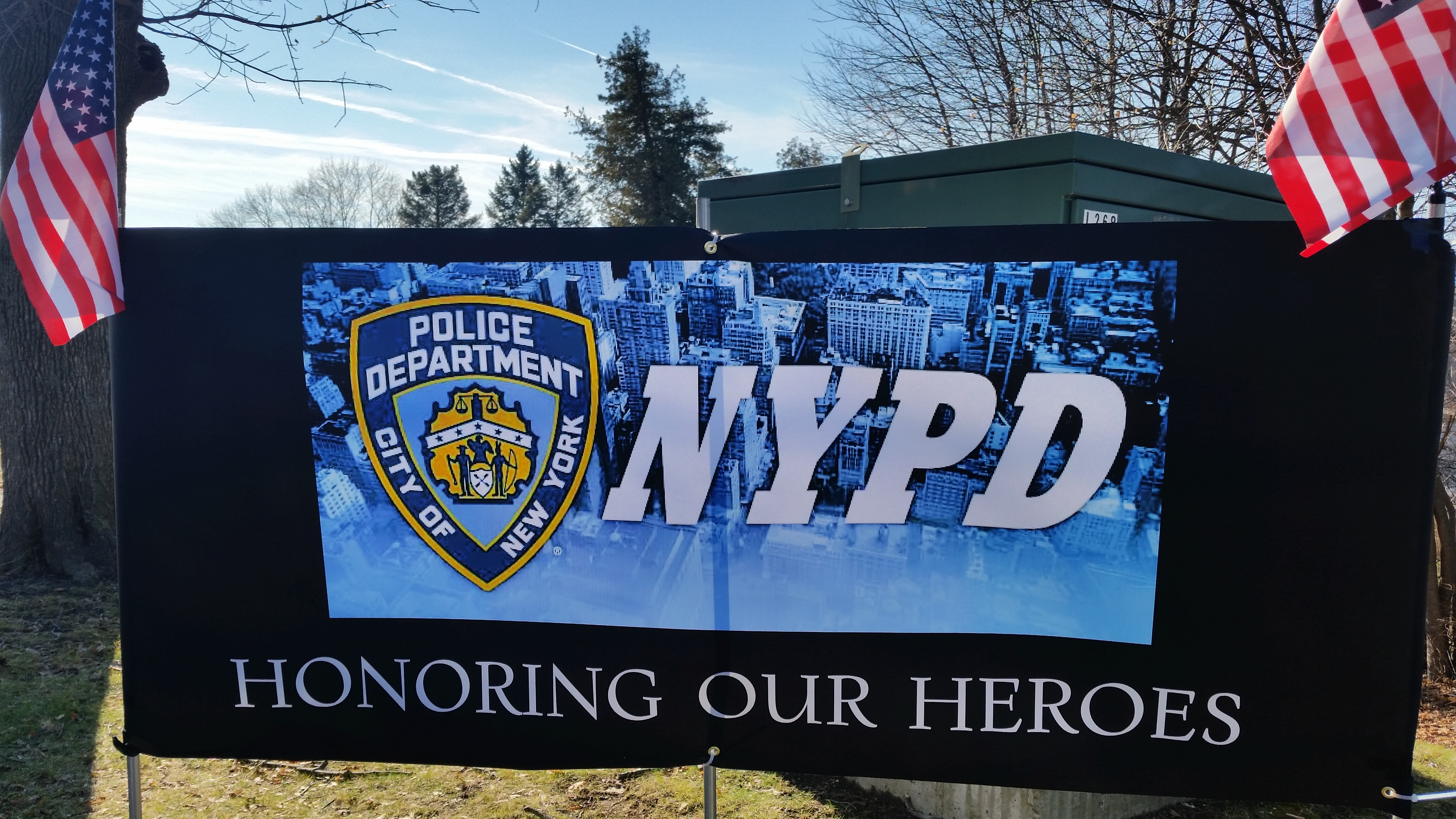 Putnam Residents Honor Fallen NYPD Officers with Flag Line along Lake Gleneida
