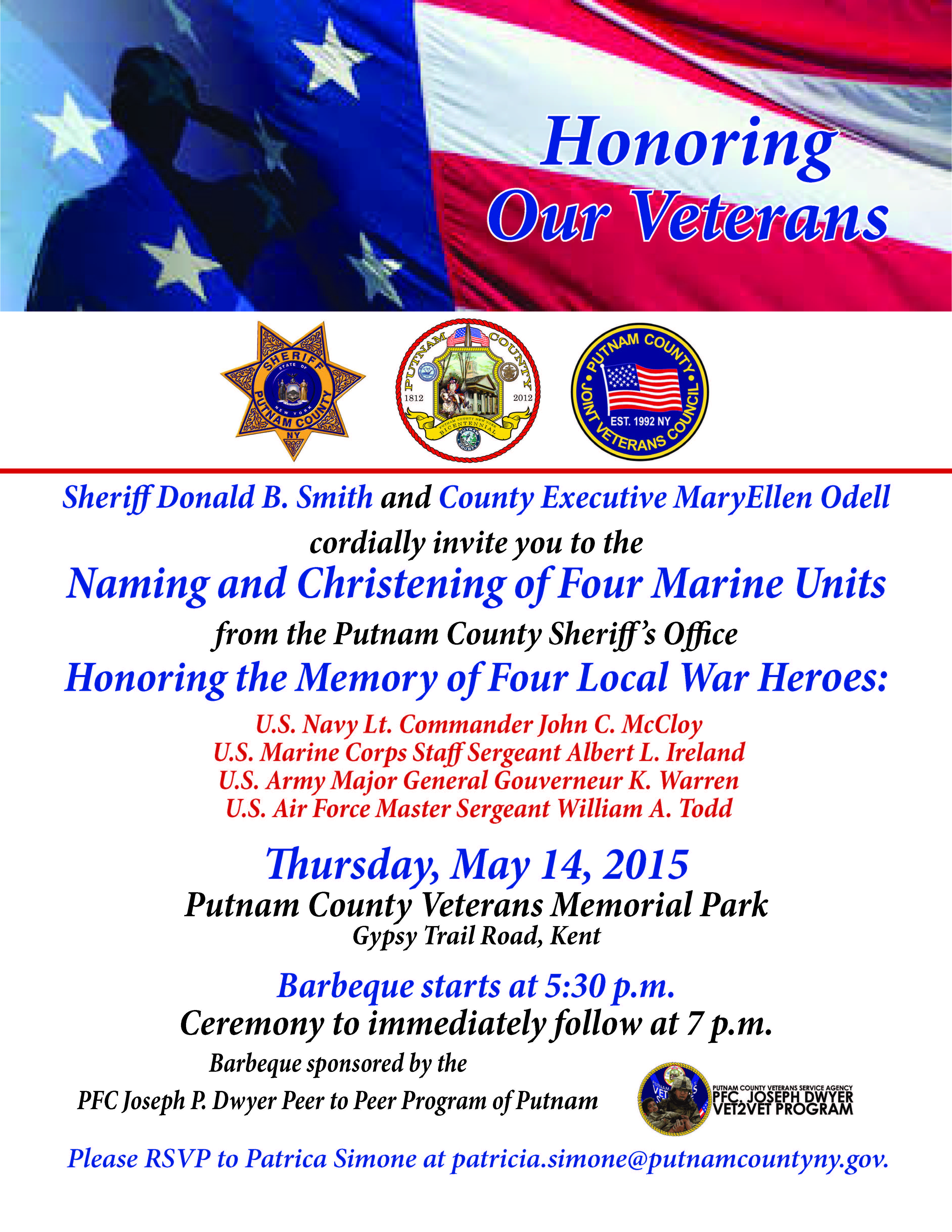 CHRISTENING OF SHERIFF'S PATROL BOATS TO HONOR FOUR LOCAL WAR HEROES