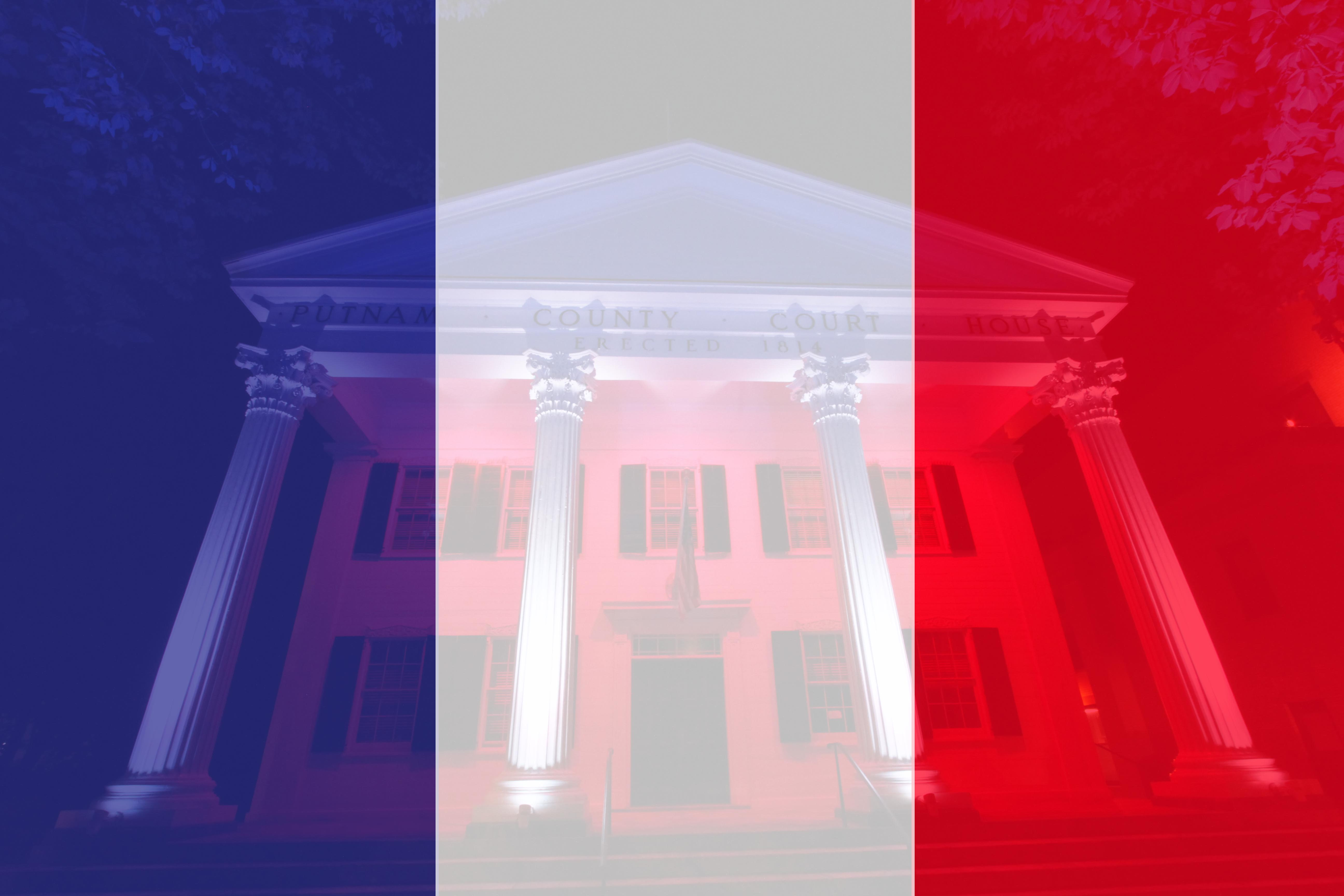 Odell Orders Putnam's Historic Courthouse to be Lit Blue, White and Red in Solidarity with France