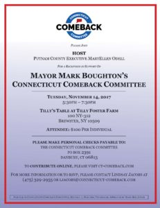 Flyer promoting Fundraiser for Mayor Mark Boughton
