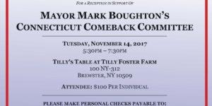 Flyer promoting Fundraiser for Mayor Mark Boughton